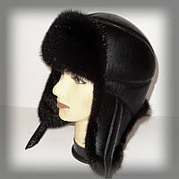 Мужская норковая шапка ушанка (фигурная строчка)