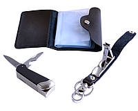 Подарочный набор (зажигалка-нож, брелок,  портмоне)