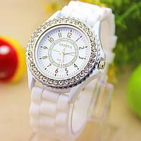 Женские часы Geneva Сrystal белые, фото 1