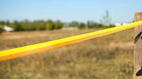 Тесьма для электропастуха - синтетическая лента шириной 20 мм. + проводники - нержавеющая сталь 0.3 мм. Чаще используется для лошадей. Цвет: ЖЕЛТО-ОРАНЖЕВЫЙ.