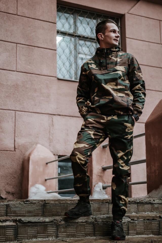 Черный камуфляжный костюм Nike (анорак+штаны, БАРСЕТКА В ПОДАРОК), (Реплика ААА)