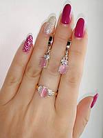 Серебряный комплект украшений с розовым камнем и золотом