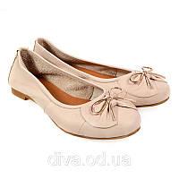 Бежевые балетки женские кожаные демисезонные - распродажа обуви 5021beige