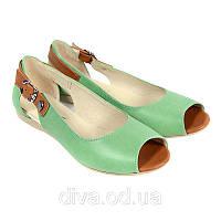 Зеленые сандали женские кожаные купить оптом недорого 4006green