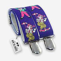 Подтяжки Bow Tie House детские синие с клоунами 03868