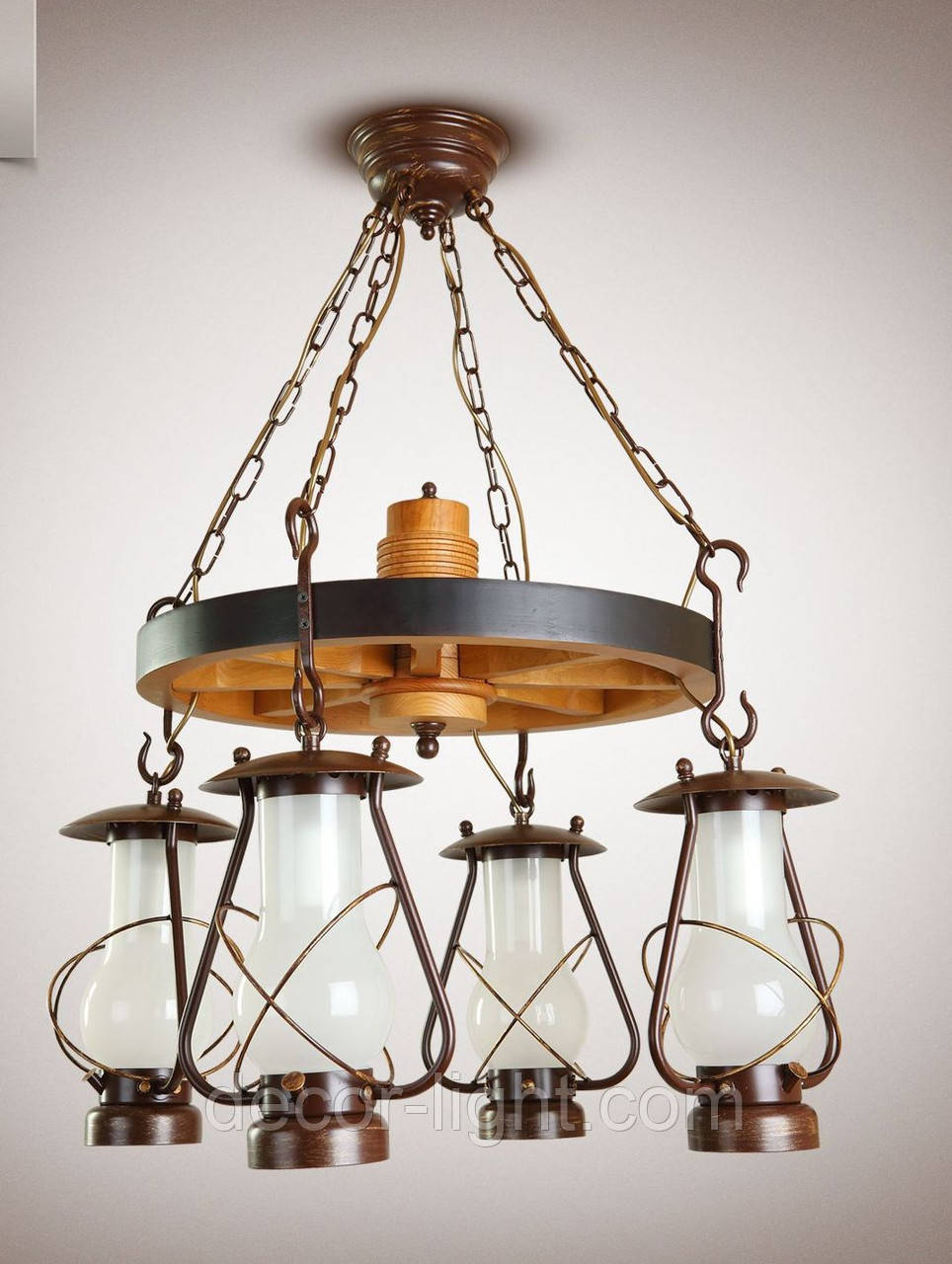Люстра 4-х ламповая, люстра керосинка, люстра колесо 9404