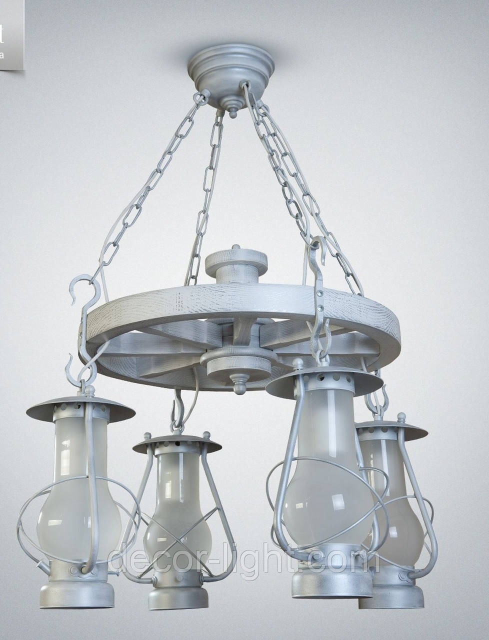 Люстра 4-х ламповая, люстра керосинка, люстра колесо 9404-1