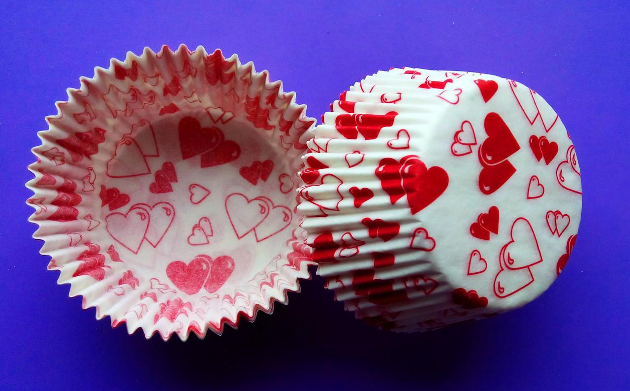 Тарталетки (капсулы) бумажные для кексов, капкейков сердечки 2