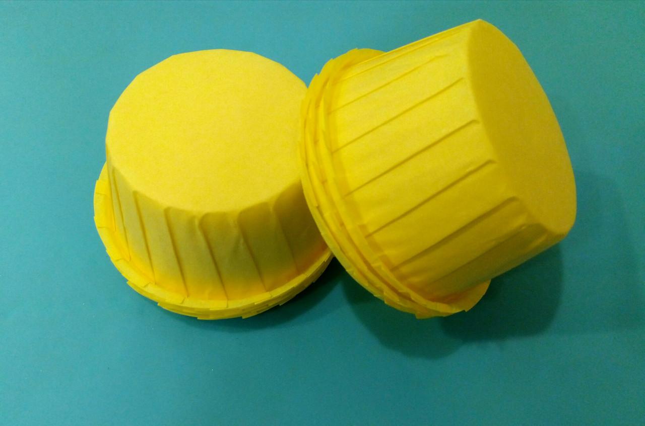 Тарталетки (капсулы) бумажные для кексов, капкейков с УСИЛИТЕЛЕМ Желтые