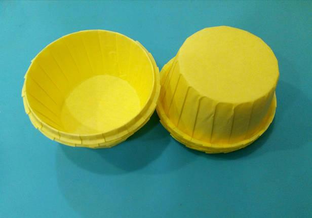 Тарталетки (капсулы) бумажные для кексов, капкейков с УСИЛИТЕЛЕМ Желтые, фото 2