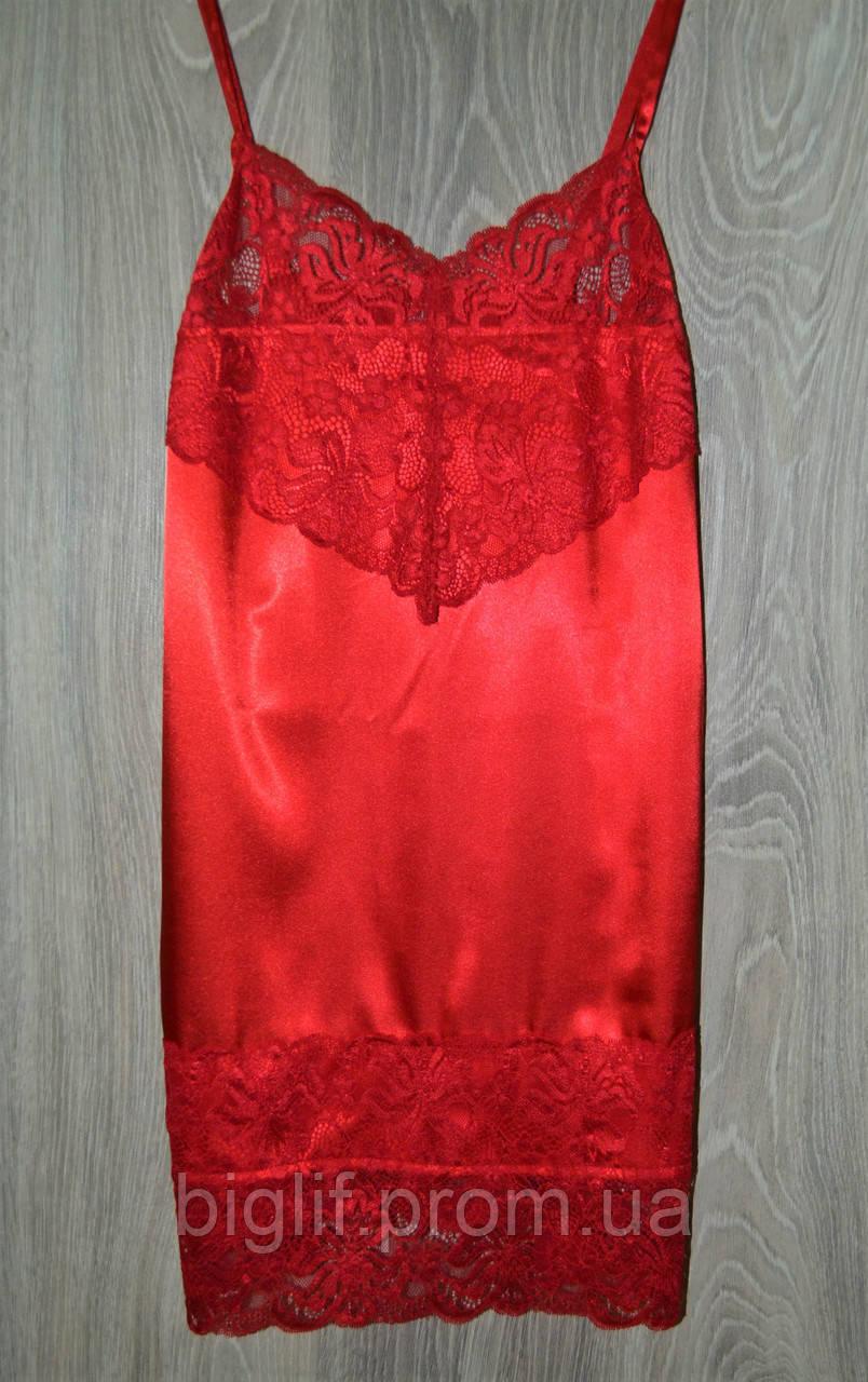 Пеньюар  с ажуром стрейч атлас S (42-44) красный (6598)