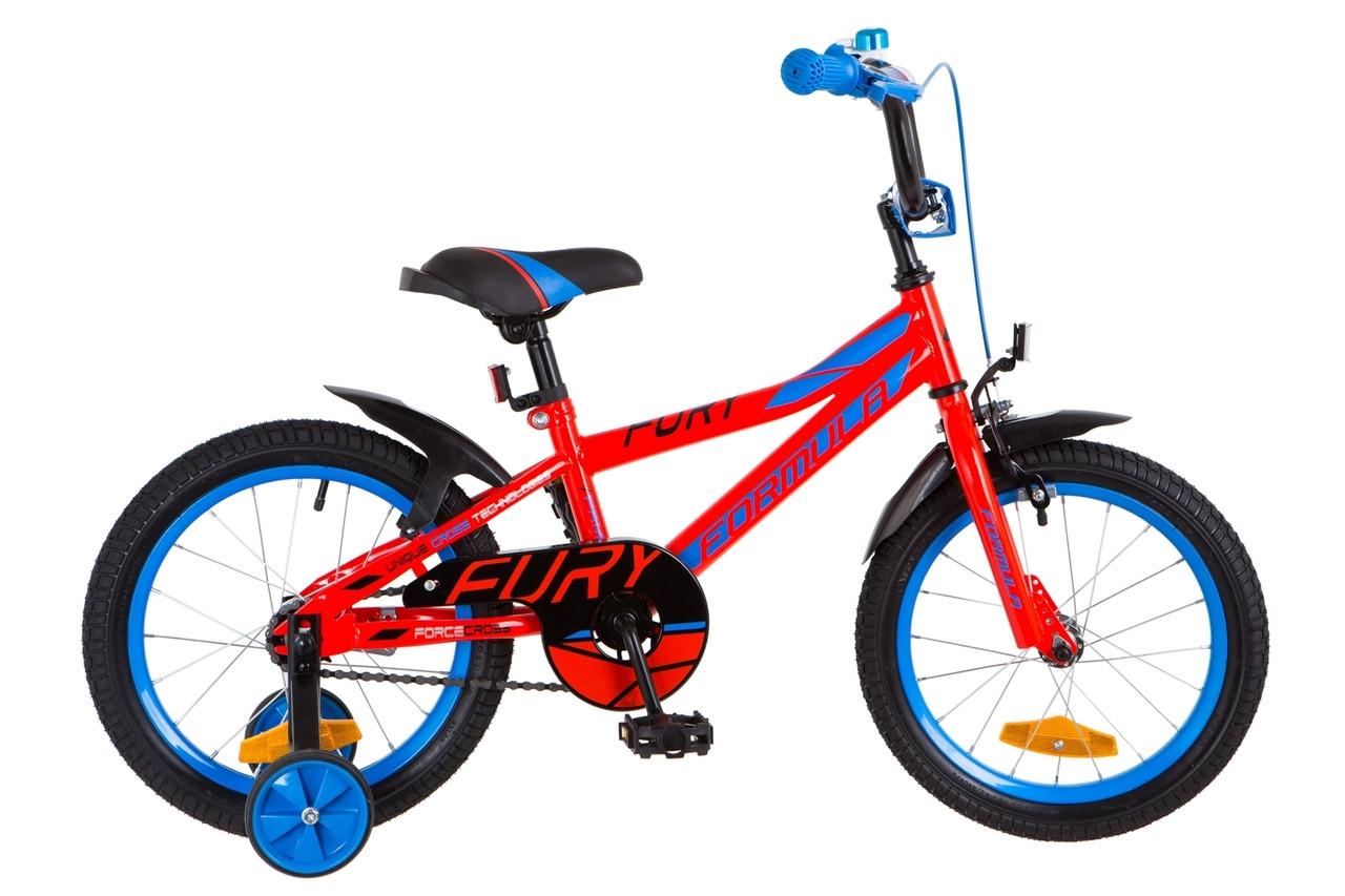 """Детский велосипед 16"""" Formula FURY 2018 (черно-красный с синим (м))"""