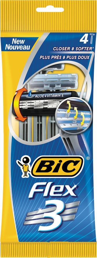 Станки для бритья BIC Flex3 без сменных картриджей 4 шт