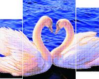 "Схема для вышивки бисером Триптих ""Лебеди"""