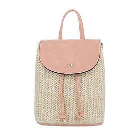 Женский рюкзак плетеный из соломы с экокожей Dudlin (Италия), Розовый