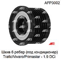 Шкив (муфта) генератора (6 пазов) на Renault Trafic 1.9 DCi, Рено Трафик 1.9 дци, AFP3002 (AS-PL)