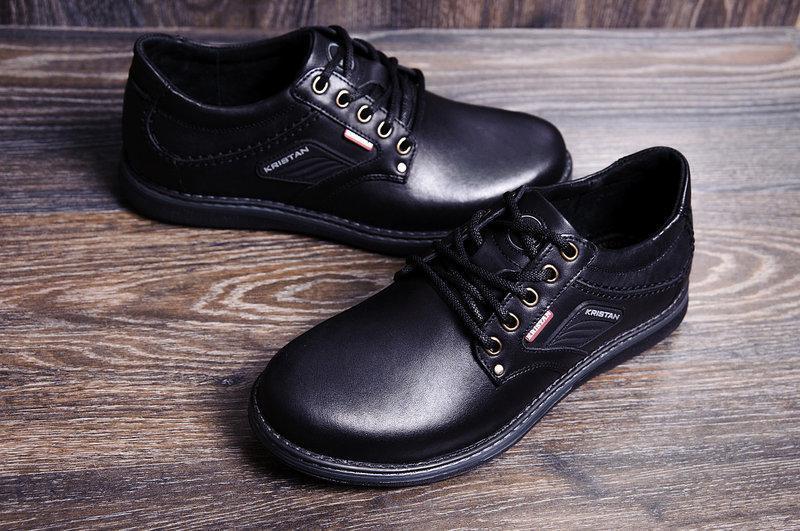 Мужские кожаные туфли Kristan black черные