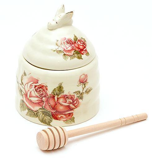 """Медовница фарфоровая """"Корейская роза"""" 12,5см с деревянной палочкой"""