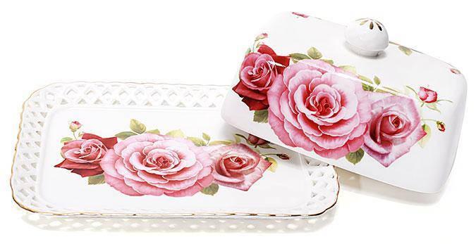 Масленка кухонная керамическая Розы 17см, фото 2