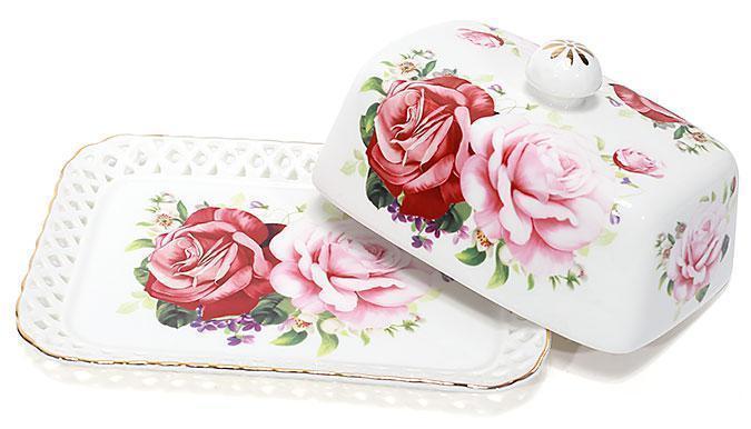 """Масленка кухонная фарфоровая """"Розы-2"""" 17см"""