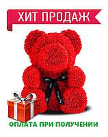 Мишка из роз в подарочной коробке КРАСНЫЙ