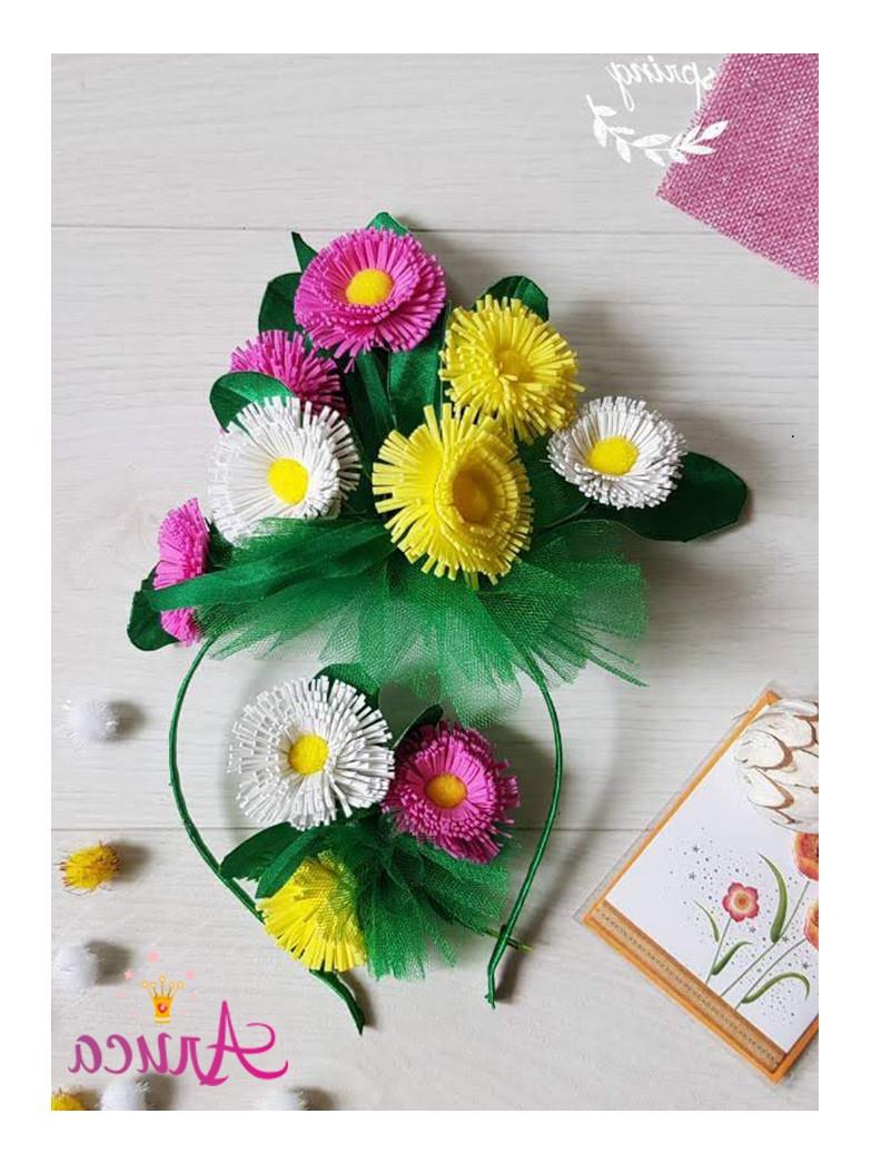 Обруч с цветами на голову и брошь Весенний букет
