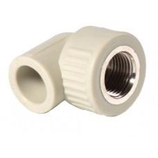 """Поліпропіленовий кут діаметр 25х3/4"""" дюйма з внутрішньою різьбою ППР"""