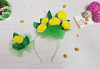 Ободок с цветами на голову и брошка  Одуванчик