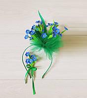 Ободок для волос с цветами из фоамирана и брошь Незабудка