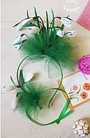 Обруч с цветами, ободок для волос и брошь Подснежник