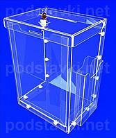 Ящик для благотворительности Акционный ящик с карманом для полиграфии и доп карманом под евробуклет сбоку, акрил 3 (PR-106)