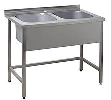 Ванна мийна зварна без полиці з 2 секціями ВМС2 (H=350мм) (1400х700 см)