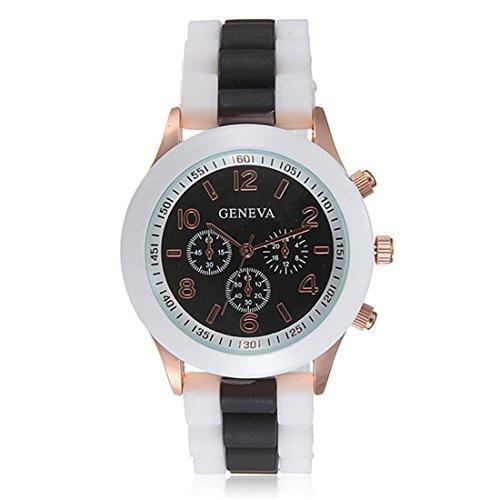 Женские часы Geneva Luxury белые с черным