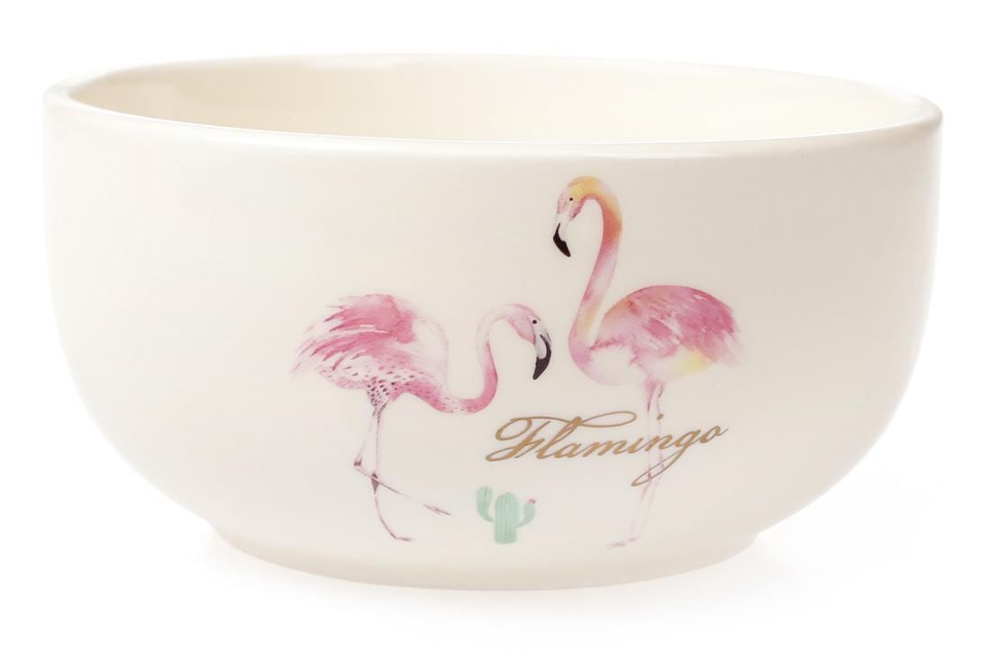 Пиала керамическая 550мл Розовый Фламинго с золотой надписью (DM045-FL)