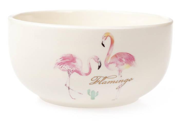 Пиала керамическая 550мл Розовый Фламинго с золотой надписью (DM045-FL), фото 2