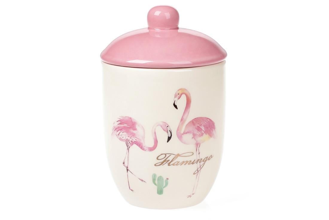 Банку керамічна 500мл для сипучих продуктів Рожевий Фламінго з золотим написом (DM070-FL)