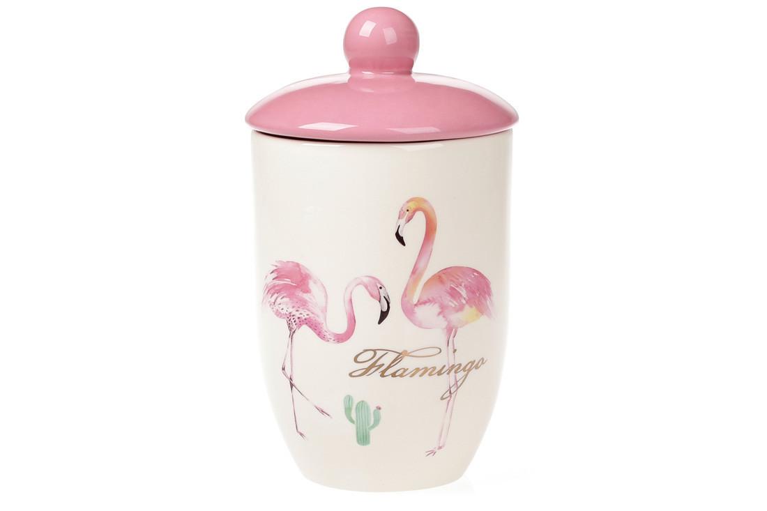 Банка керамическая 800мл для сыпучих продуктов Розовый Фламинго с золотой надписью (DM111-FL)