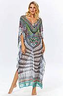 Длинное женское платье для пляжа Argento 2083-1249 One Size Черно-Белый Argento 2083-1249