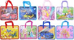 Папка-портфель школьная А4,  пластиковая на молнии, 1 отделение 2 ручки тканевые, Микс