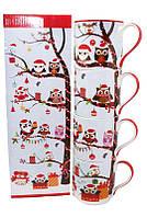 Набор фарфоровых кружек 4 шт с новогодним рисунком в подарочной коробке «New year owl», 350 мл (880-9039)