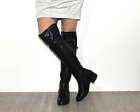 Чёрные ботфорты из экокожи на небольшом каблуке