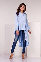 Блузка асимметричная голубого цвета  от YuLiYa Chumachenkо