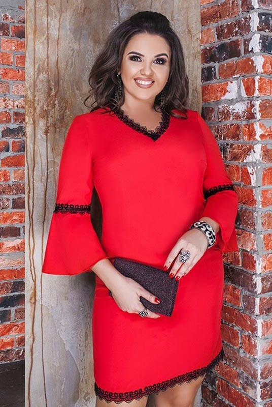 Красное платье большого размера Леона