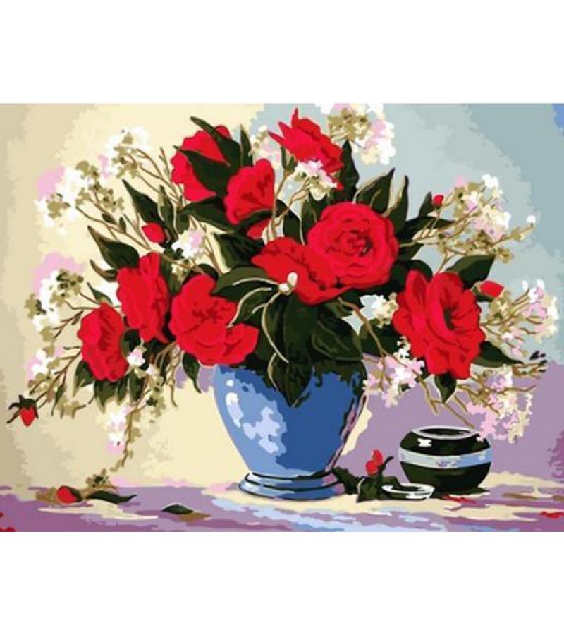 Картина по номерам Розы в синей вазе 30 х 40 см (VK091)