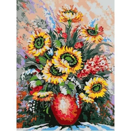 Картина по номерам Подсолнухи в алой вазе 30 х 40 см (VK090)