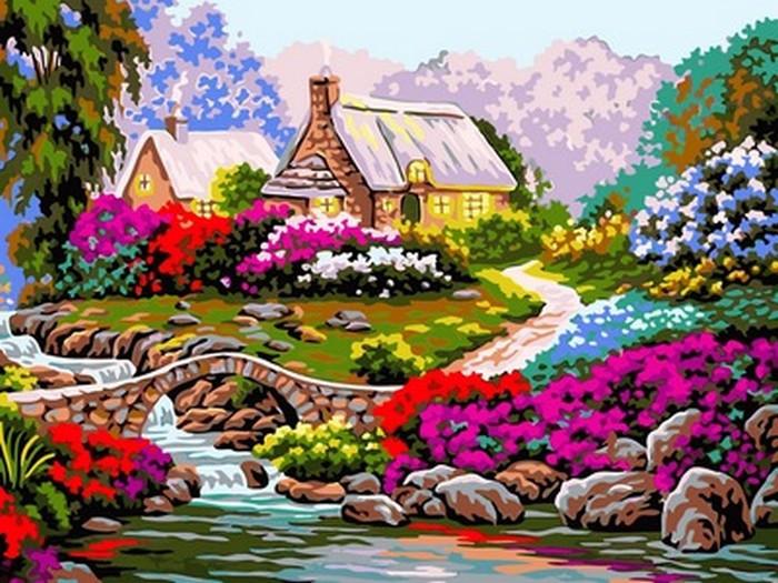 Картина по номерам Тропинка среди цветов 30 х 40 см (VK097)