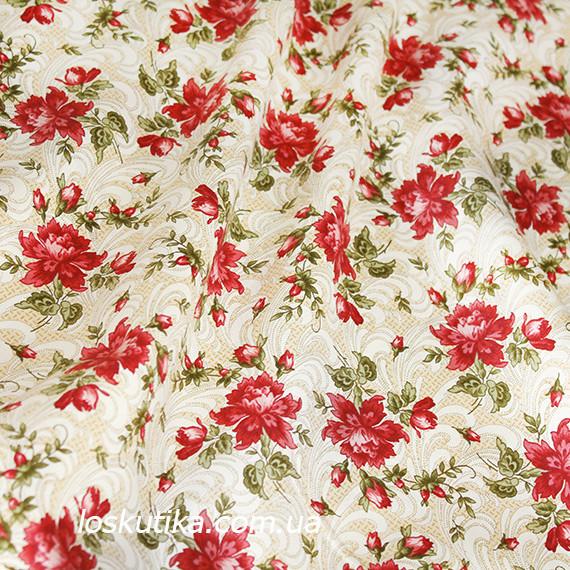 44001 Класика (красный бутон). Хлопковая ткань для летнего платья и для изготовления кукол и поделок.