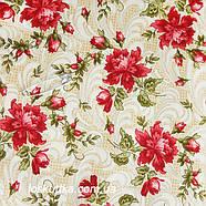 44001 Класика (красный бутон). Хлопковая ткань для летнего платья и для изготовления кукол и поделок., фото 2