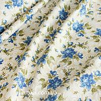 44002 Класика (синий бутон). Хлопковая ткань для летнего платья и для изготовления кукол и поделок.