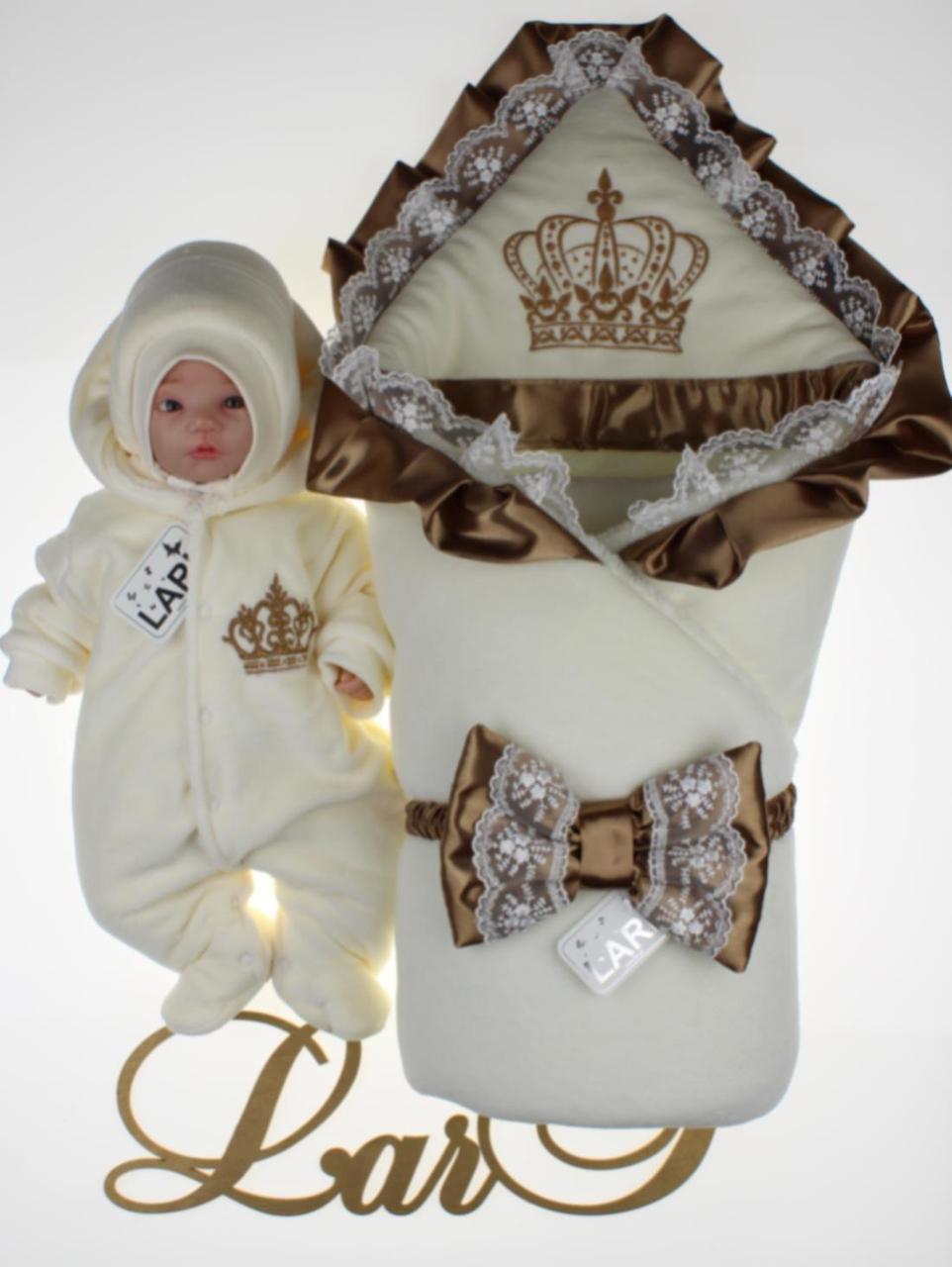 """Зимний велюровый набор для новорожденных """"Очарование"""", (молочный/капучино), 3-х предметный"""